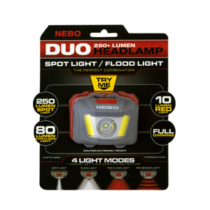 NEBO DUO headlamp with strap.