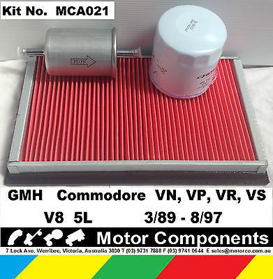 FILTER SERVICE KIT Oil Fuel Air HOLDEN Commodore VN VP VR VS V8 5L 3/89-8/97
