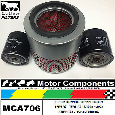 FILTER SERVICE KIT Air Fuel Oil for HOLDEN RODEO TFR6 R7, R9 4JB1-T 2.8L TURBO
