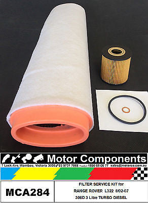 RANGE ROVER L322 306D 3 Litre TURBO DIESEL FILTER SERVICE KIT 8/2002-2007
