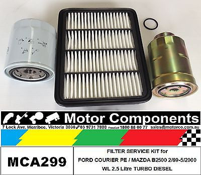Filter Service Kit Oil Fuel Air FORD COURIER PE WL 2.5L Turbo Diesel 1999 > 2000