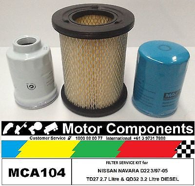 FILTER KIT Oil Air Fuel for NISSAN NAVARA D22 TD27 2.7L QD32Ti 3.2L DIESEL 97-05