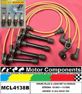 SPARK PLUGS & IGNITION LEAD SET for NISSAN SERENA C23 2.0L SR20DE EFI 1991 > 95