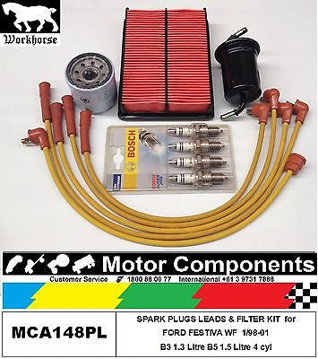 SPARK PLUGS LEADS & FILTER SERVICE KIT for FORD FESTIVA WF B3 1.3 Litre  1/98-01