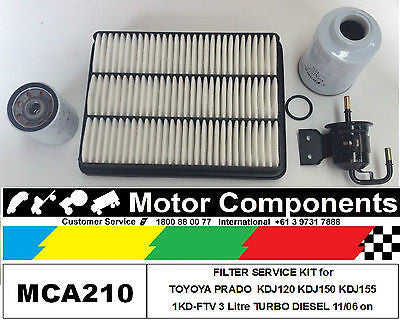 FILTER KIT for TOYOTA PRADO KDJ120 KDJ150 KDJ155 Turbo Diesel 3L 1KD-FTV 06 on