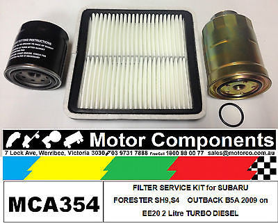 FILTER KIT Oil Air Fuel for SUBARU FORESTER  OUTBACK B5A EE20 2L TURBO DIESEL