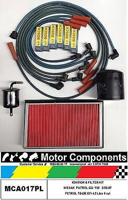 IGNITION LEADS, SPARK PLUGS & FILTER SERVICE KIT for PATROL GQ TB42E EFI 4.2L