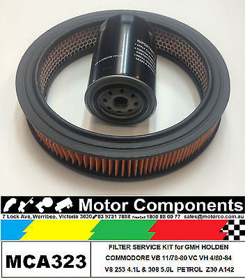 FILTER SERVICE KIT for HOLDEN COMMODORE VB 5L & VC VH Petrol V8 4.1L 4/1980-84