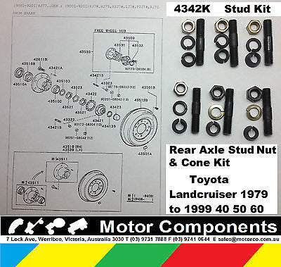 Axle Stud Nut Kit Toyota Landcruiser 1979 to 1999 40 50 60 70 80 Series