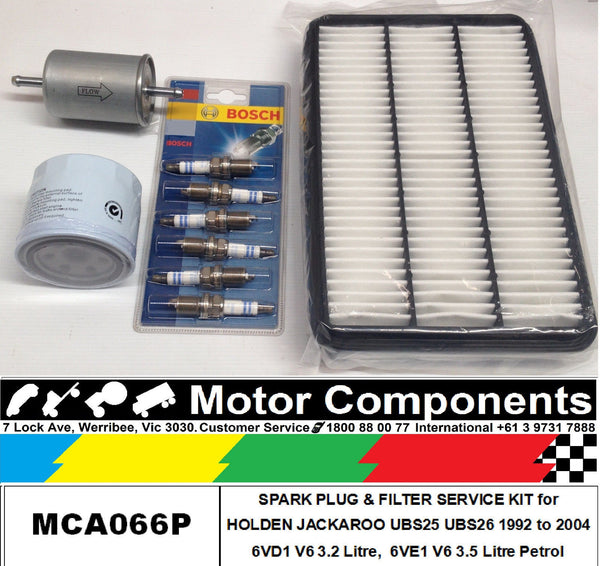 FILTER SERVICE KIT HOLDEN JACKAROO UBS25 UBS26 V6 OIL FUEL AIR & SPARK PLUGS