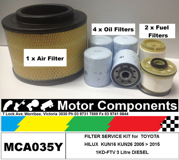 FILTER KIT Oil Air Fuel for TOYOTA HILUX KUN16 KUN26 1KD-FTV 3 Litre  05 > 2015
