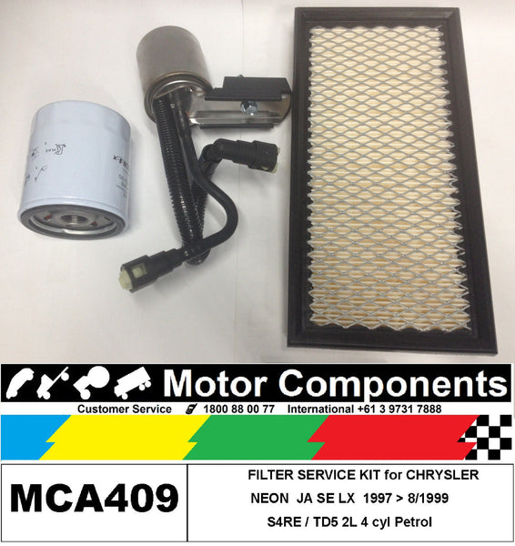 FILTER SERVICE KIT Oil Air Fuel for CHRYSLER NEON 2L JA SE, LX	7/96>1997