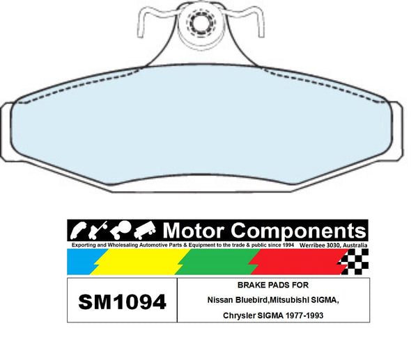 BRAKE PADS SM1094 TO SUIT Nissan Bluebird,MitsubishI SIGMA, Chrysler SIGMA 1977-1993