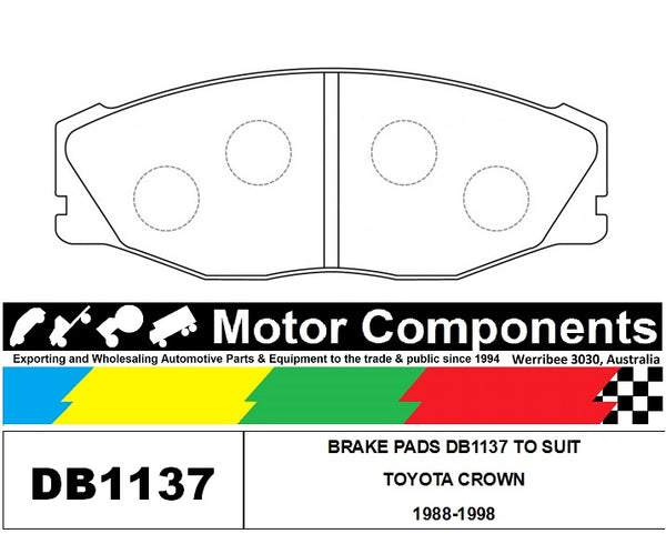 BRAKE PADS FRONT DB1137 TO SUIT TOYOTA CROWN 1988 > 1992