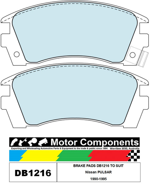 BRAKE PADS DB1216 TO SUIT Nissan PULSAR 1990-1995