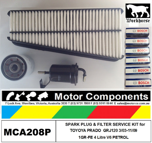 SPARK PLUGS & FILTER Kit for TOYOTA PRADO GRJ120R Petrol V6 4.0L 1GR-FE 03/03-11/09