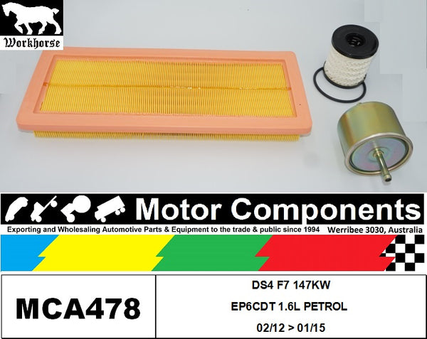 FILTER SERVICE KIT for CITROEN DS4 F7 147KW EP6CDT 1.6L PETROL 02/12 > 01/15
