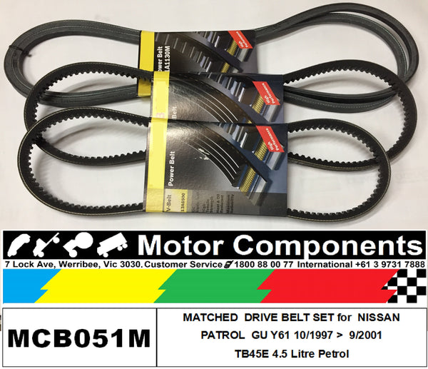 MATCHED FAN V BELT SET for NISSAN PATROL GU Y61 TB45E 4.5L PETROL 8/97 > 9/2001