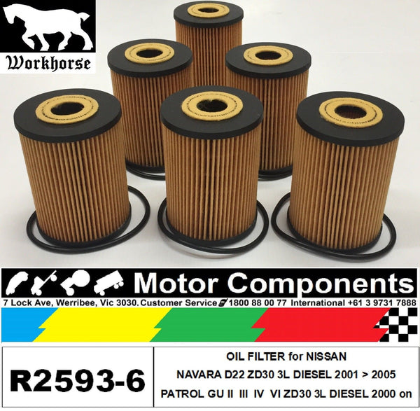 OIL FILTER 6 PACK R2593P for NISSAN NAVARA & PATROL ZD30 & ZD30D 3 Litre DIESEL