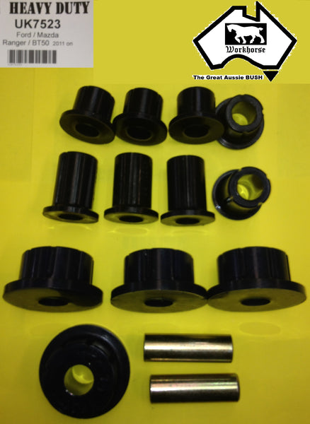 SPRING SHACKLE BUSH KIT REAR for FORD RANGER PX 2WD 4WD 10/2011 >