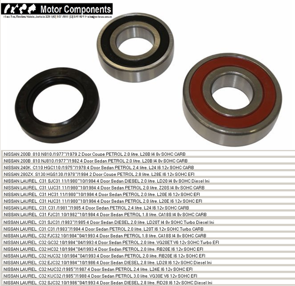 WHEEL BEARING KIT REAR for NISSAN 200B 240K 280ZX C31 C32 SKYLINE 75>1993