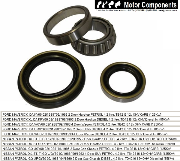 WHEEL BEARING KIT REAR for NISSAN PATROL Y60 GQ FORD MAVERICK 1988>97