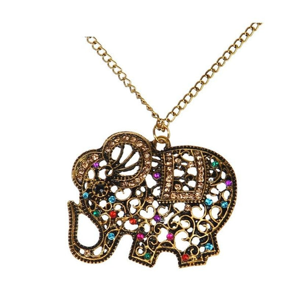 New Bohemian Red Crystal Elephant Pendants Necklaces