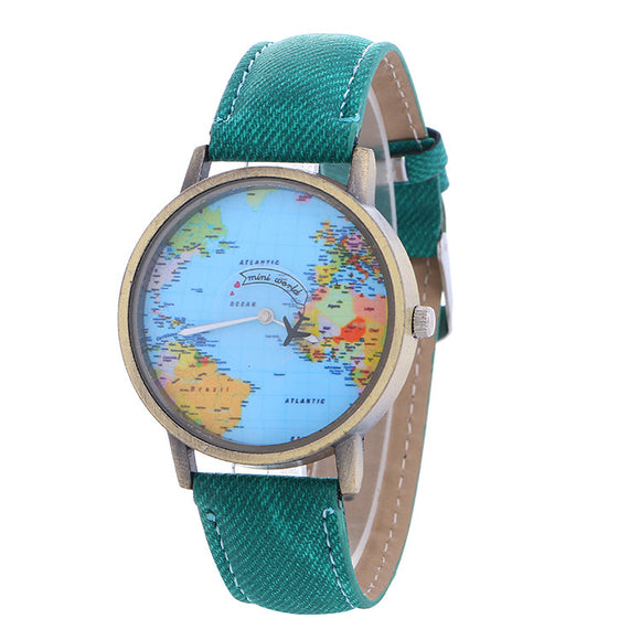 Global Travel By Plane Green Map New Watch For Ladies