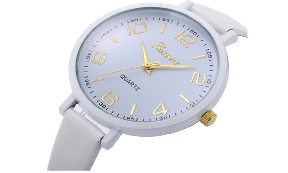 New fashion Casual Checkers Faux Leather Quartz Analog Wrist Watch For Women