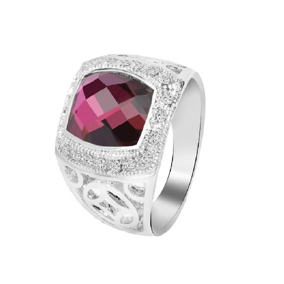 Stylish Purple Crystal Plated Silver Plated Ring For Women