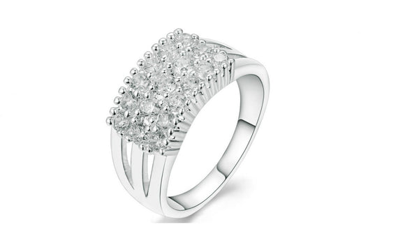 Silver Color Cubic Zirconia  Ring For Women