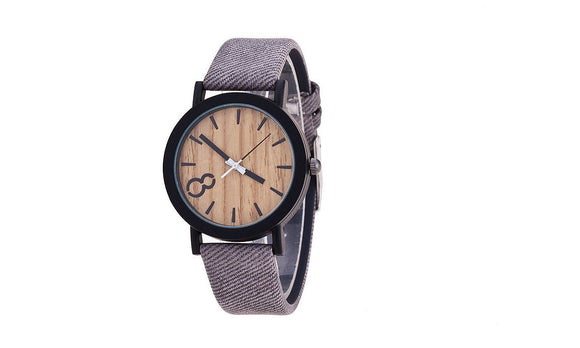 Men Watch Casual Wooden  Leather Strap Wristwatch Relogio Masculino