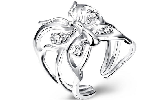 Silver Butterfly Finger Ring