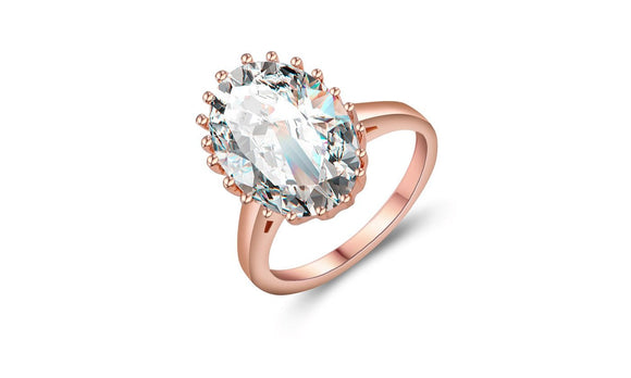 Oval Rose Gold Color Cubic Zirconia Engagement Finger Ring