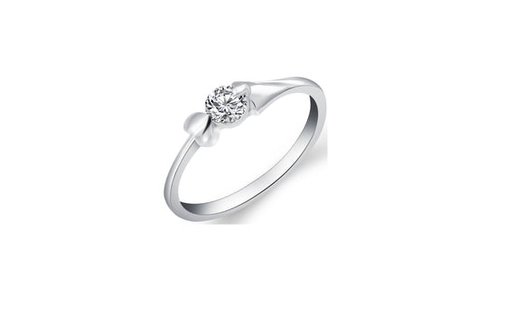 Round Cut White Crystal Cubic Engagement Ring For Women