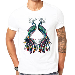 new summer peacock rainbow love printed t-shirt for men size sml