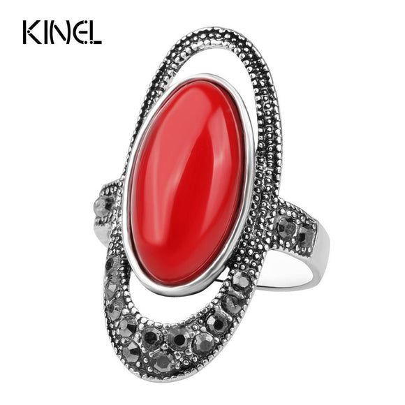 Silver Color Black Resin Red Rhinestone Ring For Women