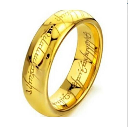 Gold Laser Engraved Stainless Steel Chain Ring