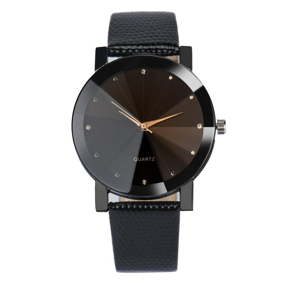 New Fashion Stainless Steel Dial Leather Wristwatch
