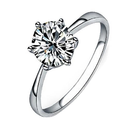 Clear Zircon Inlaid Wedding Bridal Engagement Ring