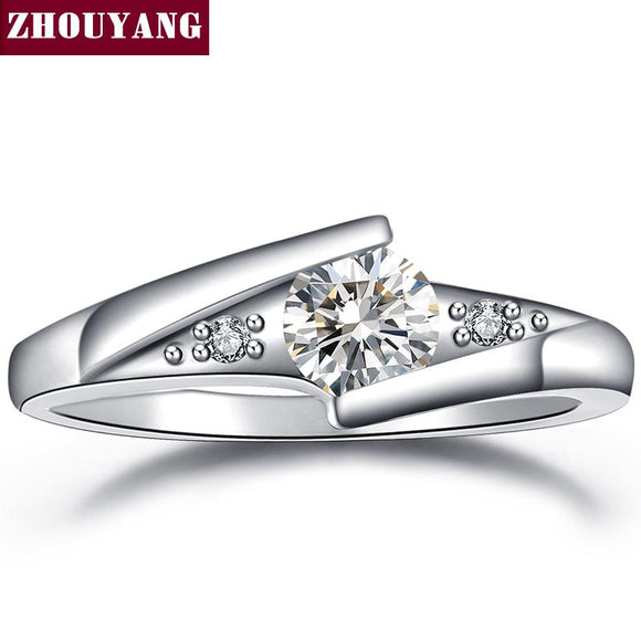 Classical Silver Cubic Zirconia Fashion Engagement Ring For Women