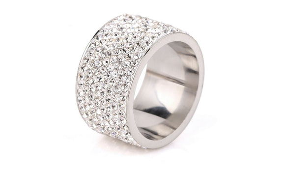 Women' Choice Round Shape Eight Row White Crystal Rings