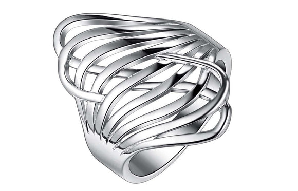 Stereo Inflated Silver Plated Fashion Ring For Women