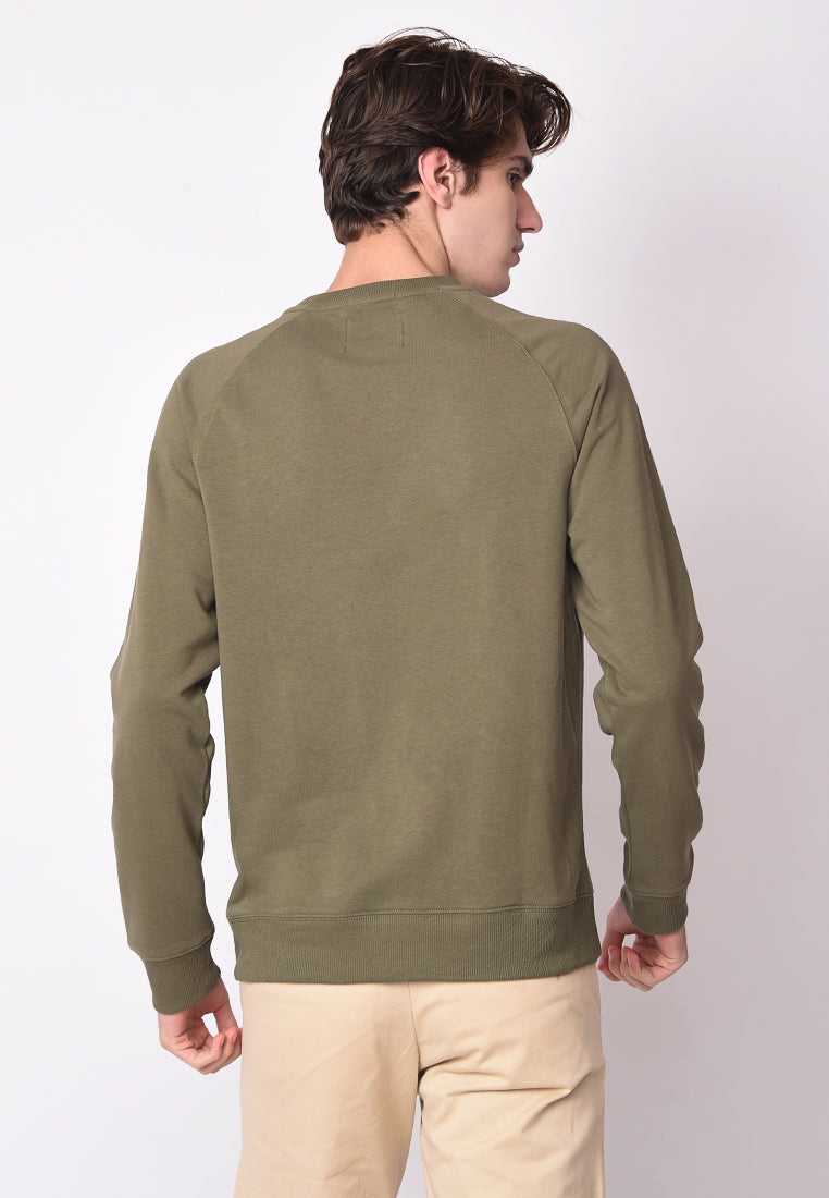 London Varsity Raglan Pullover in Olive Green