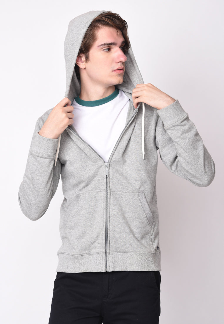 Skelly Zipped Hooded French Terry Sweatshirts in Grey