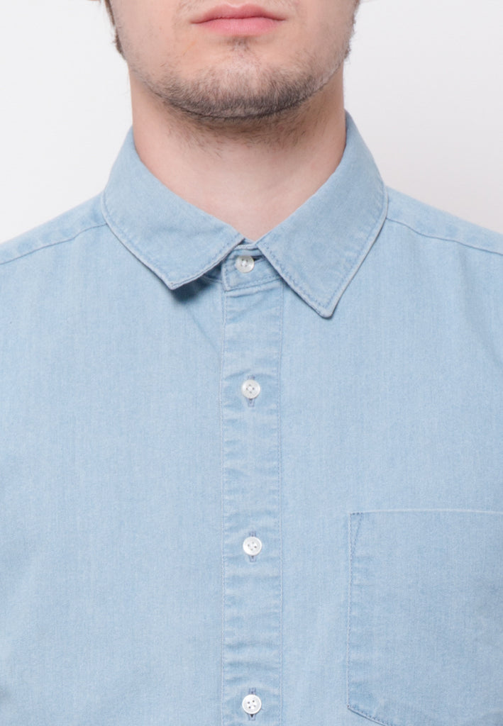 Stalwart Short Sleeve Denim Shirts in Light Blue - Skelly Indonesia - The Original Graphic Tees, Comfortable Basic - www.skellyshop.co.uk