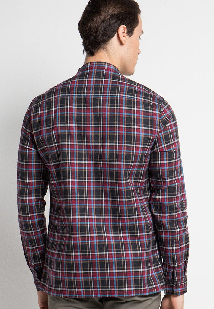 Spitafields Band Collar Check Shirts - Skelly Indonesia - The Original Graphic Tees, Comfortable Basic - www.skellyshop.co.uk