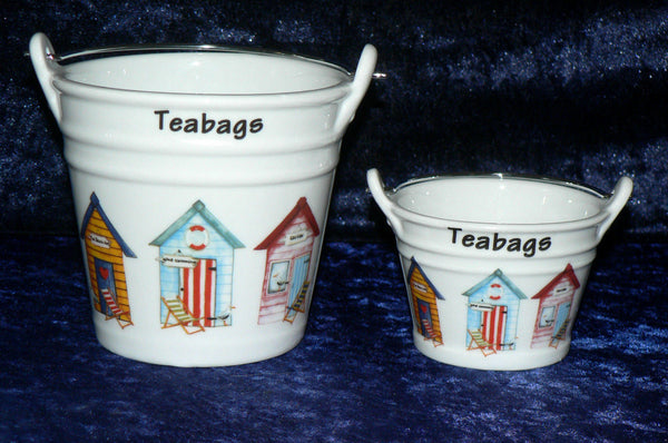 Beach hut teabag tidy Bucket, used teabag holder, decorated with beach huts in choice of 2 sizes