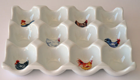 Chicken cockrel rooster design Ceramic 6 or 12 egg holder egg tray 2 sizes