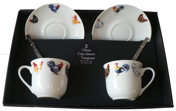 Chicken cockerel rooster design set of 2 cups and saucers gift boxed with teaspoons